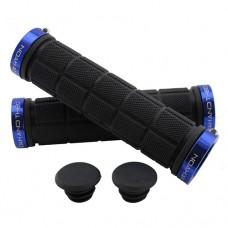 Double Lock On Handlebar Grips BLACK/BLUE