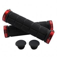 Double Lock On Handlebar Grips BLACK/RED