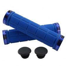 Double Lock On Handlebar Grips BLUE/BLUE