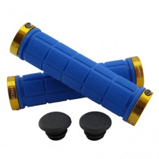 Double Lock On Handlebar Grips BLUE/GOLD