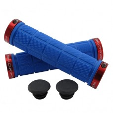 Double Lock On Handlebar Grips BLUE/RED