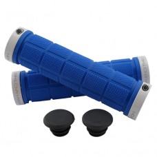 Double Lock On Handlebar Grips BLUE/WHITE