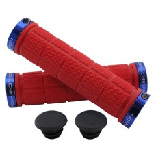 Double Lock On Handlebar Grips RED/BLUE