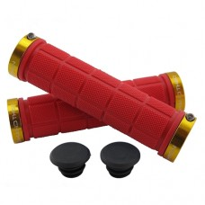 Double Lock On Handlebar Grips RED/GOLD
