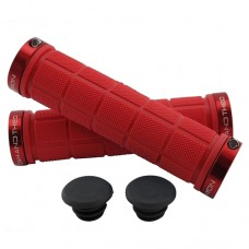 Double Lock On Handlebar Grips RED/RED