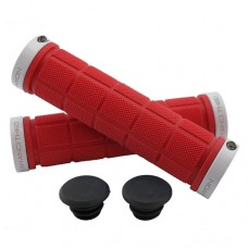 Double Lock On Handlebar Grips RED/WHITE
