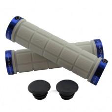 Double Lock On Handlebar Grips WHITE/BLUE