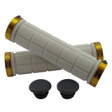 Double Lock On Handlebar Grips WHITE/GOLD