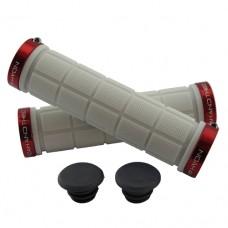 Double Lock On Handlebar Grips WHITE/RED