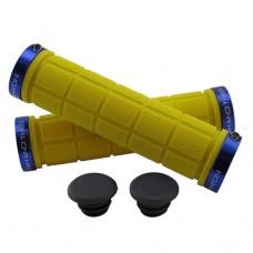 Double Lock On Handlebar Grips YELLOW/BLUE
