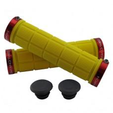 Double Lock On Handlebar Grips YELLOW/RED